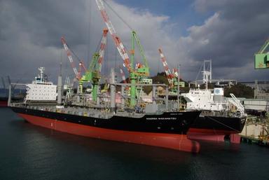 艤装を終え、出航を待つ新造船。