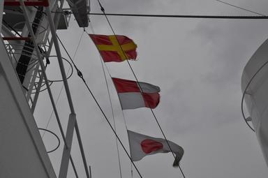 試運転の国際信号旗